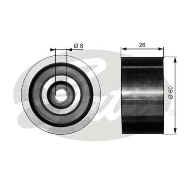 Slika GATES - T36076 - Usmeravajući/vodeći točkić, klinasti rebrasti kaiš (Kaišni prenos)