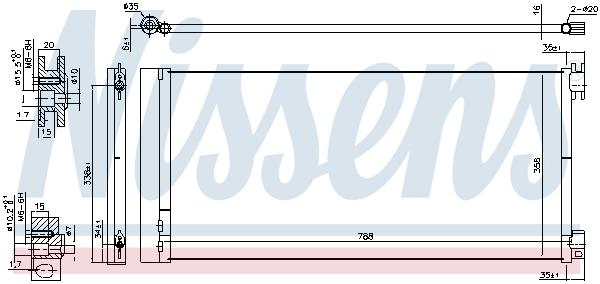 Slika NISSENS - 940596 - Kondenzator, klima-uređaj (Klima-uređaj)