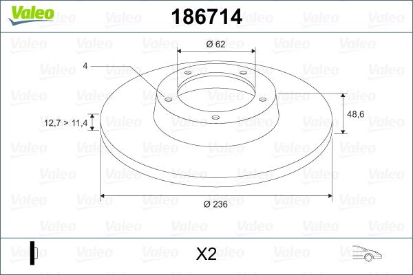 Slika VALEO - 186714 - Kočioni disk (Kočioni uređaj)