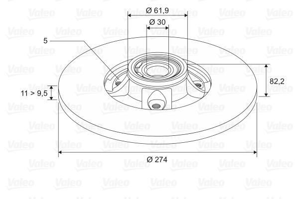 Slika VALEO - 186896 - Kočioni disk (Kočioni uređaj)