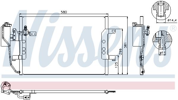Slika NISSENS - 94588 - Kondenzator, klima-uređaj (Klima-uređaj)