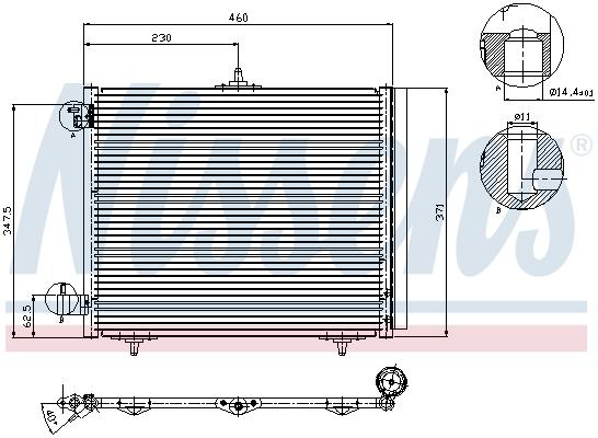 Slika NISSENS - 94595 - Kondenzator, klima-uređaj (Klima-uređaj)