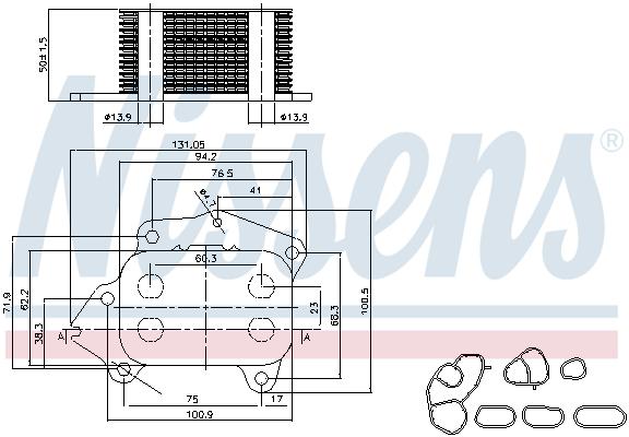 Slika NISSENS - 90717 - Uljni hladnjak, ulje za motor (Podmazivanje)