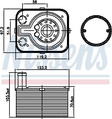 Slika NISSENS - 90655 - Uljni hladnjak, ulje za motor (Podmazivanje)