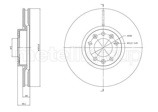 Slika METELLI - 23-1848C - Kočioni disk (Kočioni uređaj)