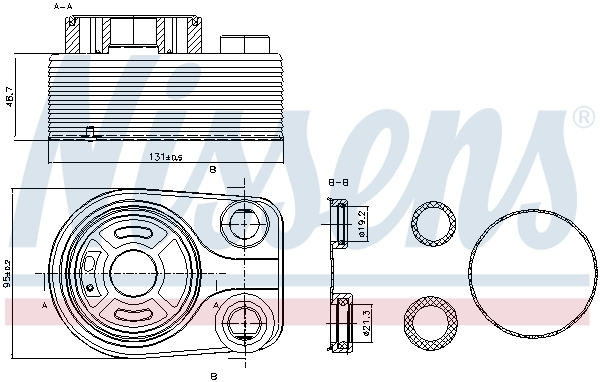 Slika NISSENS - 90705 - Uljni hladnjak, ulje za motor (Podmazivanje)