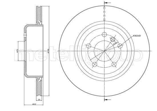Slika METELLI - 23-1281C - Kočioni disk (Kočioni uređaj)