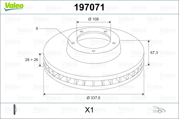 Slika VALEO - 197071 - Kočioni disk (Kočioni uređaj)