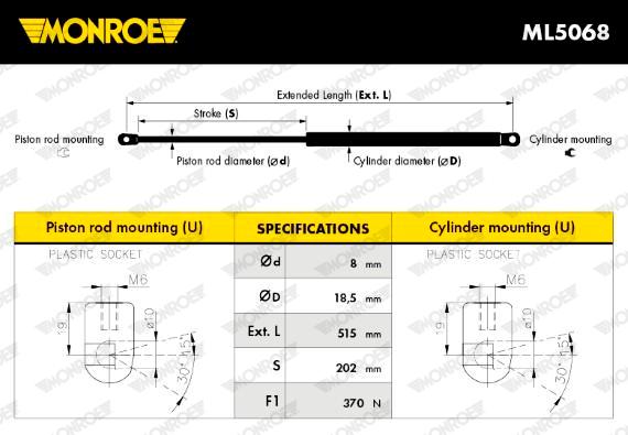 Slika MONROE - ML5068 - Gasni amortizer, prtljažnik/utovarni prostor (Karoserija)