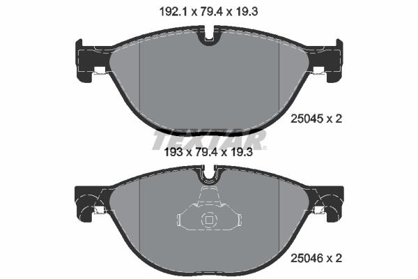 Slika TEXTAR - 2504501 - Komplet pločica, disk-kočnica (Kočioni uređaj)
