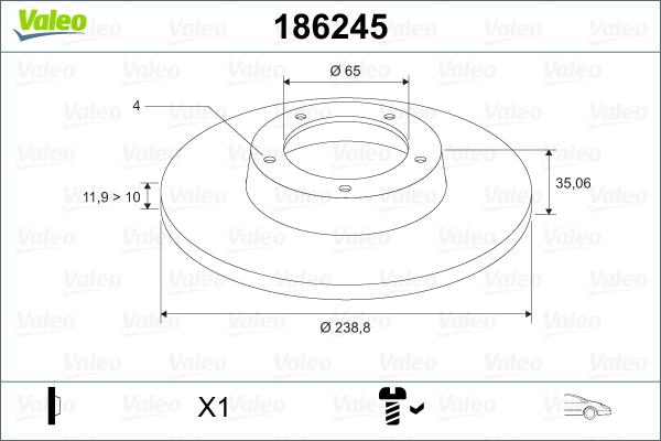 Slika VALEO - 186245 - Kočioni disk (Kočioni uređaj)