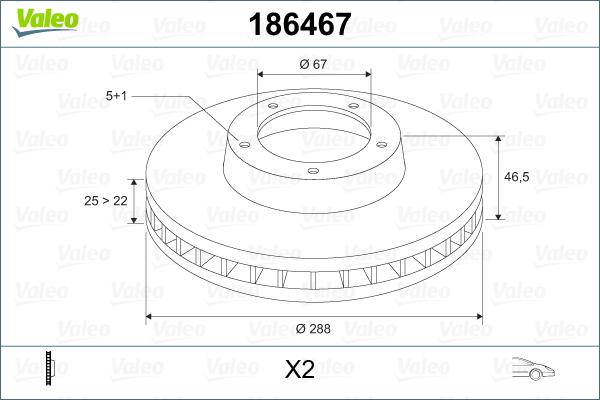 Slika VALEO - 186467 - Kočioni disk (Kočioni uređaj)