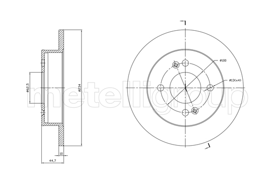Slika METELLI - 23-1761C - Kočioni disk (Kočioni uređaj)
