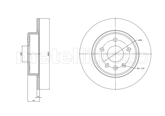 Slika METELLI - 23-1823C - Kočioni disk (Kočioni uređaj)