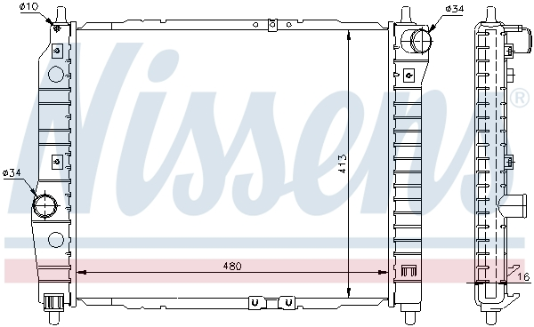 Slika NISSENS - 61636 - Hladnjak, hlađenje motora (Hlađenje)