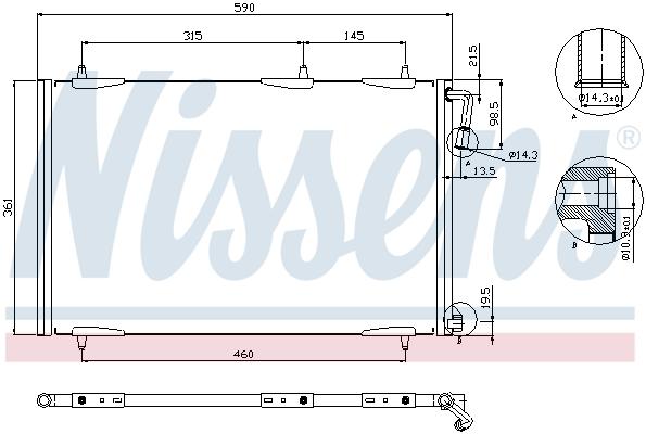 Slika NISSENS - 94855 - Kondenzator, klima-uređaj (Klima-uređaj)