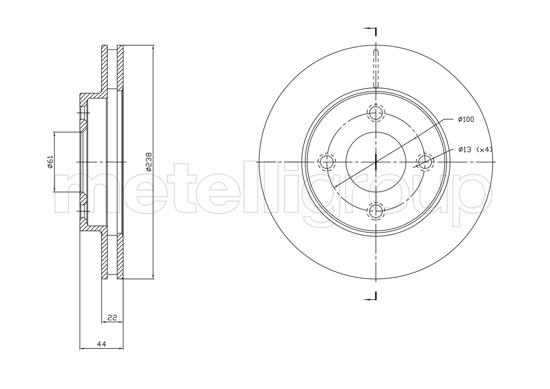 Slika METELLI - 23-1808C - Kočioni disk (Kočioni uređaj)