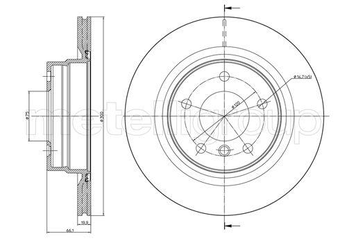 Slika METELLI - 23-0818C - Kočioni disk (Kočioni uređaj)