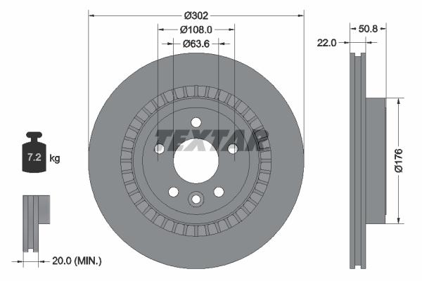 Slika TEXTAR - 92196403 - Kočioni disk (Kočioni uređaj)
