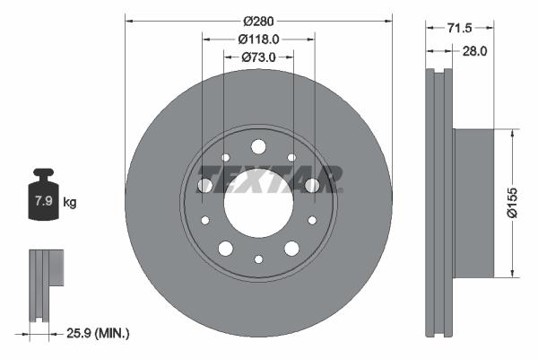 Slika TEXTAR - 92275003 - Kočioni disk (Kočioni uređaj)