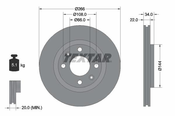 Slika TEXTAR - 92111503 - Kočioni disk (Kočioni uređaj)