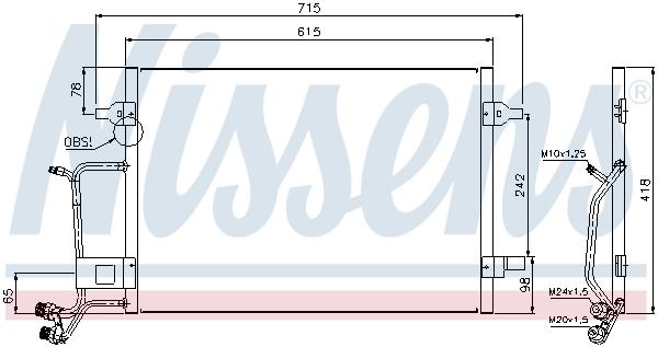 Slika NISSENS - 94594 - Kondenzator, klima-uređaj (Klima-uređaj)