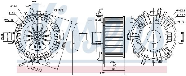 Slika NISSENS - 87180 - Ventilator kabine/unutrašnjeg prostora (Grejanje/ventilacija)