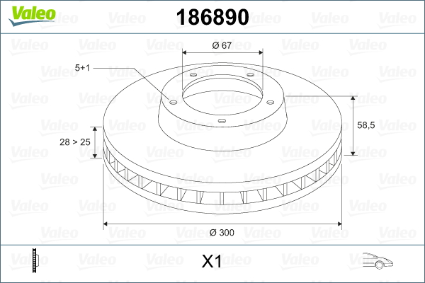 Slika VALEO - 186890 - Kočioni disk (Kočioni uređaj)