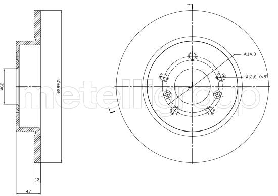 Slika METELLI - 23-1763C - Kočioni disk (Kočioni uređaj)