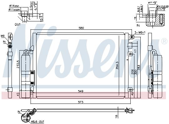 Slika NISSENS - 94439 - Kondenzator, klima-uređaj (Klima-uređaj)