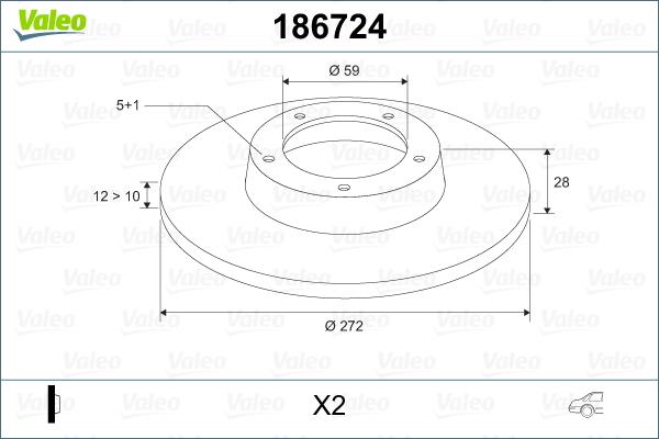 Slika VALEO - 186724 - Kočioni disk (Kočioni uređaj)