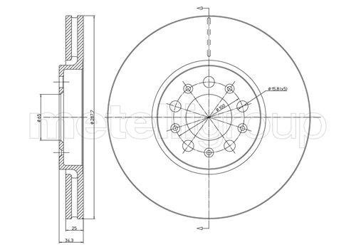 Slika METELLI - 23-0365C - Kočioni disk (Kočioni uređaj)