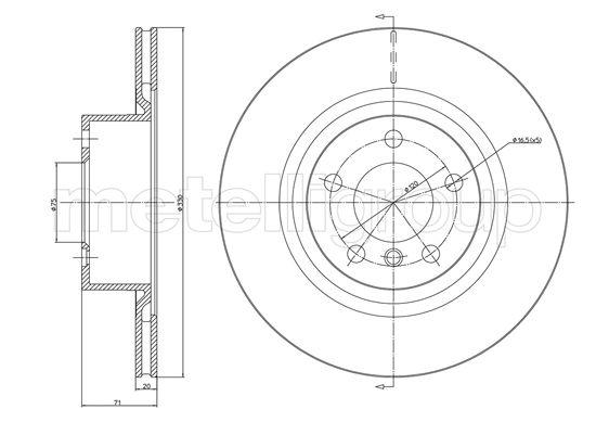 Slika METELLI - 23-1261C - Kočioni disk (Kočioni uređaj)