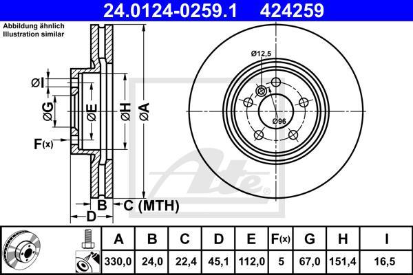 Slika ATE - 24.0124-0259.1 - Kočioni disk (Kočioni uređaj)