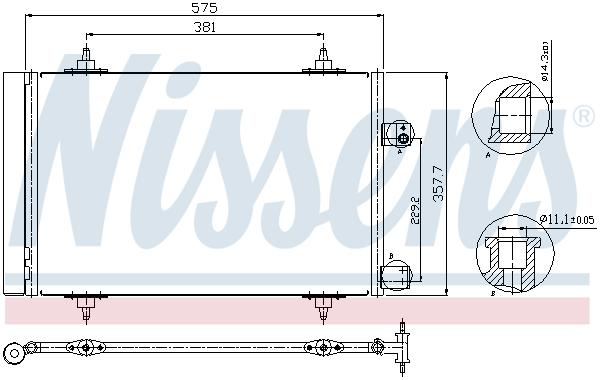 Slika NISSENS - 940239 - Kondenzator, klima-uređaj (Klima-uređaj)
