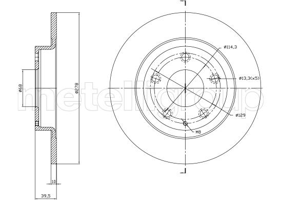 Slika METELLI - 23-1757C - Kočioni disk (Kočioni uređaj)