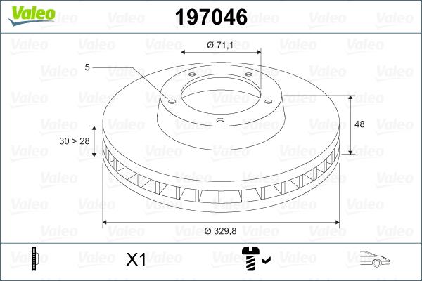 Slika VALEO - 197046 - Kočioni disk (Kočioni uređaj)