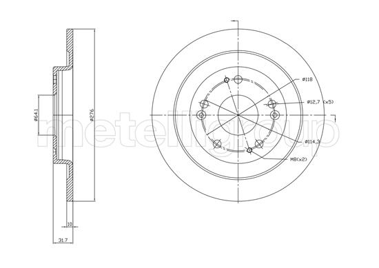 Slika METELLI - 23-1391C - Kočioni disk (Kočioni uređaj)