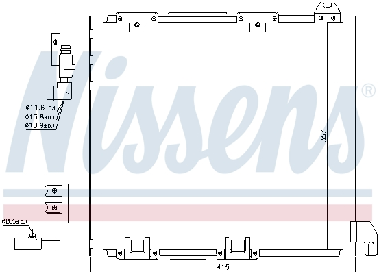 Slika NISSENS - 94385 - Kondenzator, klima-uređaj (Klima-uređaj)