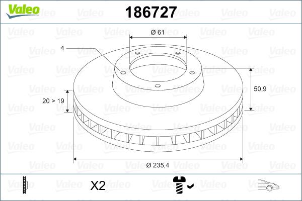 Slika VALEO - 186727 - Kočioni disk (Kočioni uređaj)