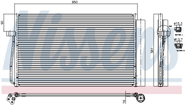 Slika NISSENS - 94747 - Kondenzator, klima-uređaj (Klima-uređaj)
