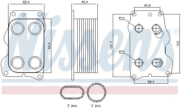 Slika NISSENS - 90740 - Uljni hladnjak, ulje za motor (Podmazivanje)