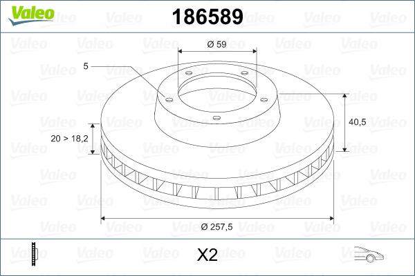 Slika VALEO - 186589 - Kočioni disk (Kočioni uređaj)