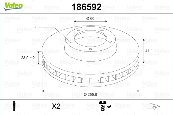 Slika VALEO - 186592 - Kočioni disk (Kočioni uređaj)