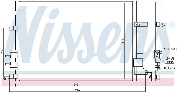 Slika NISSENS - 94871 - Kondenzator, klima-uređaj (Klima-uređaj)