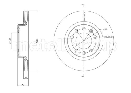 Slika METELLI - 23-1765C - Kočioni disk (Kočioni uređaj)