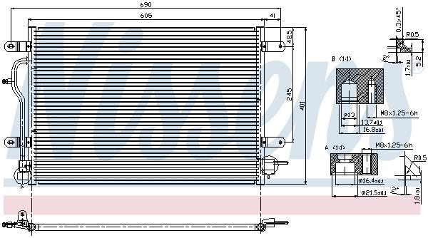 Slika NISSENS - 94583 - Kondenzator, klima-uređaj (Klima-uređaj)