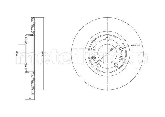 Slika METELLI - 23-1759C - Kočioni disk (Kočioni uređaj)