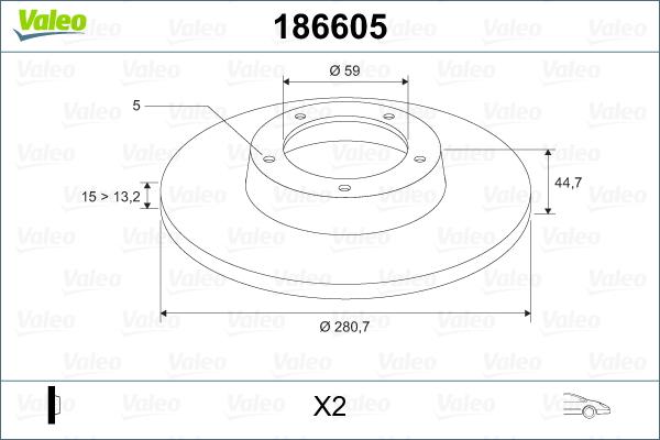 Slika VALEO - 186605 - Kočioni disk (Kočioni uređaj)