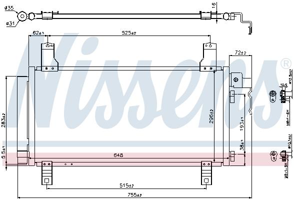 Slika NISSENS - 94792 - Kondenzator, klima-uređaj (Klima-uređaj)